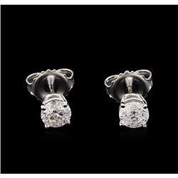 0.86 ctw Diamond Solitaire Earrings - 14KT White Gold
