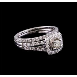 1.04 ctw Diamond Wedding Ring Set - 14KT White Gold