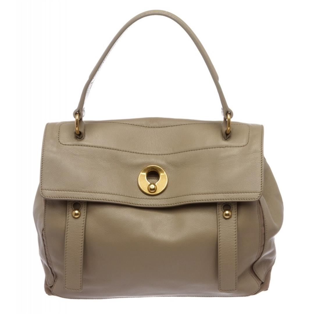 1d2881c0af3 Image 1 : Yves Saint Laurent Taupe Leather Muse Two Tote Bag ...