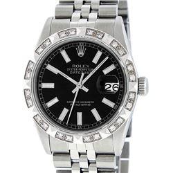 Rolex Mens Satinless Steel Black Index Pyramid Diamond Datejust Wristwatch