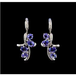 14KT White Gold 11.81 ctw Tanzanite and Diamond Earrings