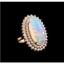 16.01 ctw Opal and Diamond Ring - 14KT Rose Gold