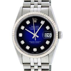 Rolex Mens SS Blue Vignette Diamond Datejust Quickset Wristwatch