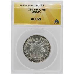 1857-P FJ Bolivia 4 Soles Coin ANACS AU53
