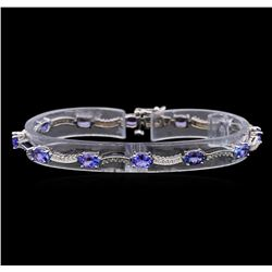 14KT White Gold 5.15 ctw Tanzanite and Diamond Bracelet