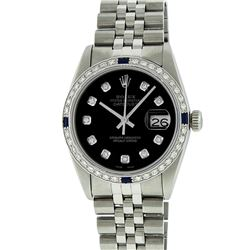 Rolex Stainless Steel 1.00 ctw Diamond and Sapphire DateJust Men's Watch
