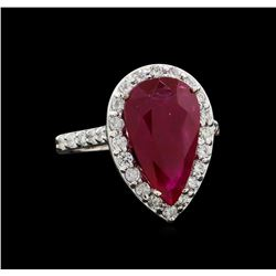GIA Cert 6.46 ctw Ruby and Diamond Ring - 14KT White Gold