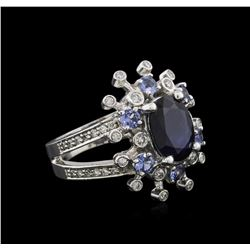 14KT White Gold 3.49 ctw Sapphire, Tanzanite and Diamond Ring