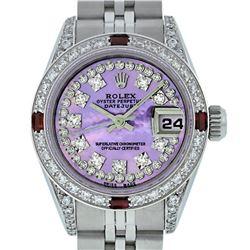 Rolex Ladies SS Diamond Lugs Purple MOP VS Diamond And Ruby Datejust Wristwatch