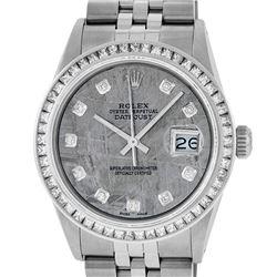 Rolex Mens Stainless Steel Meteorite Princess Cut Diamond Datejust Wristwatch