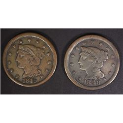 1845 & 1848 LARGE CENTS VF