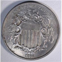 1868 SHIELD NICKEL, AU+