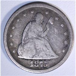 1875-S 20-CENT PIECE, VG/FINE NICE!