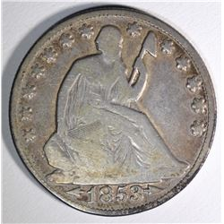1853-O ARROWS & RAYS SEATED HALF DOLLAR, FINE