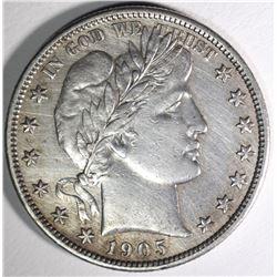 1905-S BARBER HALF DOLLAR, AU KEY DATE!