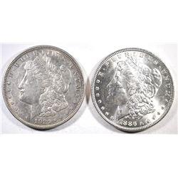 1886 & 1921-D MORGAN SILVER DOLLARS, CH BU