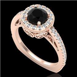 1.55 CTW Fancy Black Diamond Solitaire Engagement Art Deco Ring 18K Rose Gold - REF-136K4W - 37983