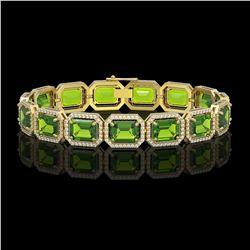 33.37 CTW Peridot & Diamond Halo Bracelet 10K Yellow Gold - REF-405M5H - 41551