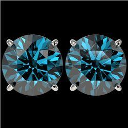 5 CTW Certified Intense Blue SI Diamond Solitaire Stud Earrings 10K White Gold - REF-1147F2N - 33148