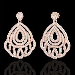 3 CTW Micro Pave VS/SI Diamond Earrings Designer 14K Rose Gold - REF-256X9T - 21146