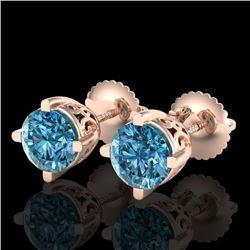 1.5 CTW Fancy Intense Blue Diamond Art Deco Stud Earrings 18K Rose Gold - REF-263M6H - 38070