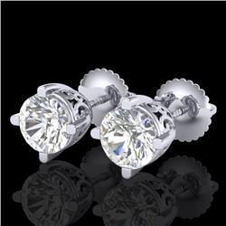 1.5 CTW VS/SI Diamond Solitaire Art Deco Stud Earrings 18K White Gold - REF-318Y2K - 37229
