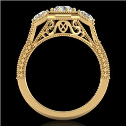 1.05 CTW VS/SI Diamond Solitaire Art Deco 3 Stone Ring 18K Yellow Gold - REF-200N2Y - 37102