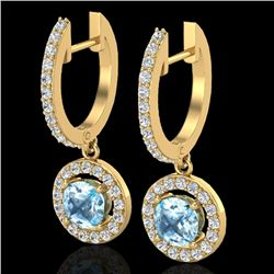 1.75 CTW Sky Topaz & Micro Pave Halo VS/SI Diamond Earrings 18K Yellow Gold - REF-82Y8K - 23261