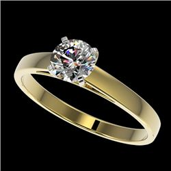 0.75 CTW Certified H-SI/I Quality Diamond Solitaire Engagement Ring 10K Yellow Gold - REF-97A5X - 32