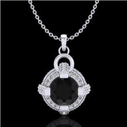 1.57 CTW Fancy Black Diamond Solitaire Micro Pave Stud Necklace 18K White Gold - REF-106H4A - 37632