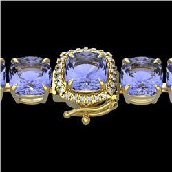 40 CTW Tanzanite & Micro VS/SI Diamond Halo Designer Bracelet 14K Yellow Gold - REF-548K2W - 23326