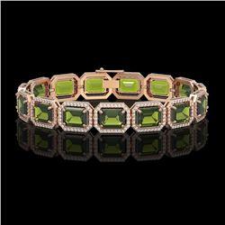 36.51 CTW Tourmaline & Diamond Halo Bracelet 10K Rose Gold - REF-477T3M - 41544