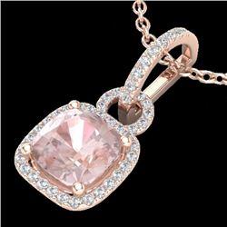 2.75 CTW Morganite & Micro VS/SI Diamond Halo Necklace 14K Rose Gold - REF-65T6M - 22987