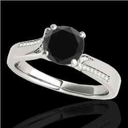 1.18 CTW Certified VS Black Diamond Solitaire Ring 10K White Gold - REF-59Y5K - 35286