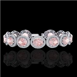23 CTW Morganite & Micro Pave VS/SI Diamond Bracelet 10K White Gold - REF-527W3F - 22691
