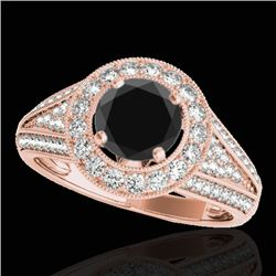1.7 CTW Certified VS Black Diamond Solitaire Halo Ring 10K Rose Gold - REF-91Y3K - 33971