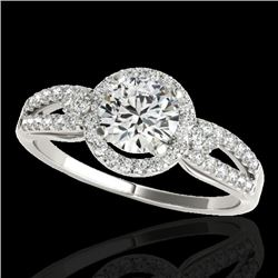 1.25 CTW H-SI/I Certified Diamond Solitaire Halo Ring 10K White Gold - REF-161W8F - 34087