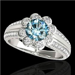 1.5 CTW Si Certified Fancy Blue Diamond Solitaire Halo Ring 10K White Gold - REF-171H6A - 34473