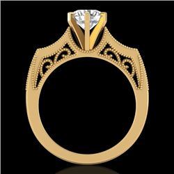 1.25 CTW VS/SI Diamond Art Deco Ring 18K Yellow Gold - REF-400M2H - 37075