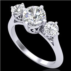 1.51 CTW VS/SI Diamond Solitaire Art Deco 3 Stone Ring 18K White Gold - REF-427W3F - 37235