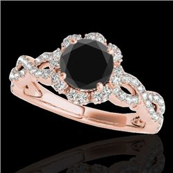 1.69 CTW Certified VS Black Diamond Solitaire Halo Ring 10K Rose Gold - REF-89H3A - 34109