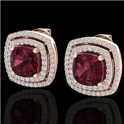 4.55 CTW Garnet & Micro Pave VS/SI Diamond Halo Earrings 14K Rose Gold - REF-84N8Y - 20164