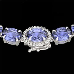 80 CTW Tanzanite & VS/SI Diamond Tennis Micro Halo Necklace 14K White Gold - REF-890T9M - 23477