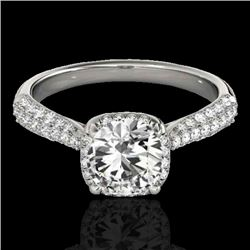 1.5 CTW H-SI/I Certified Diamond Solitaire Halo Ring 10K White Gold - REF-177X6T - 33258