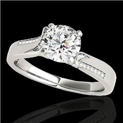 1.18 CTW H-SI/I Certified Diamond Solitaire Ring 10K White Gold - REF-180W2F - 35285