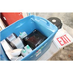 TOTE OF SOAP DISPENSERS AND TOILET PAPER DISPENSERS AND EXIT SIGNS
