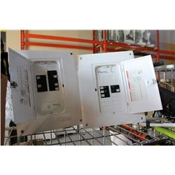 TWO ELECTRIC PANELS WITH BREAKERS