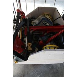 BOX OF PIPE WRENCHES SPRINKLERS AND HOSE PARTS