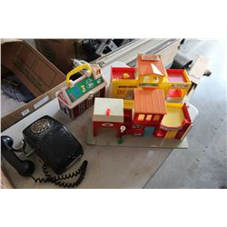 VINTAGE FISHER PRICE TOYS AND ROTARY PHONE