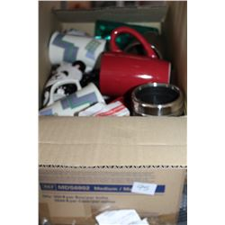 BOX OF WINE GLASES AND MUGS